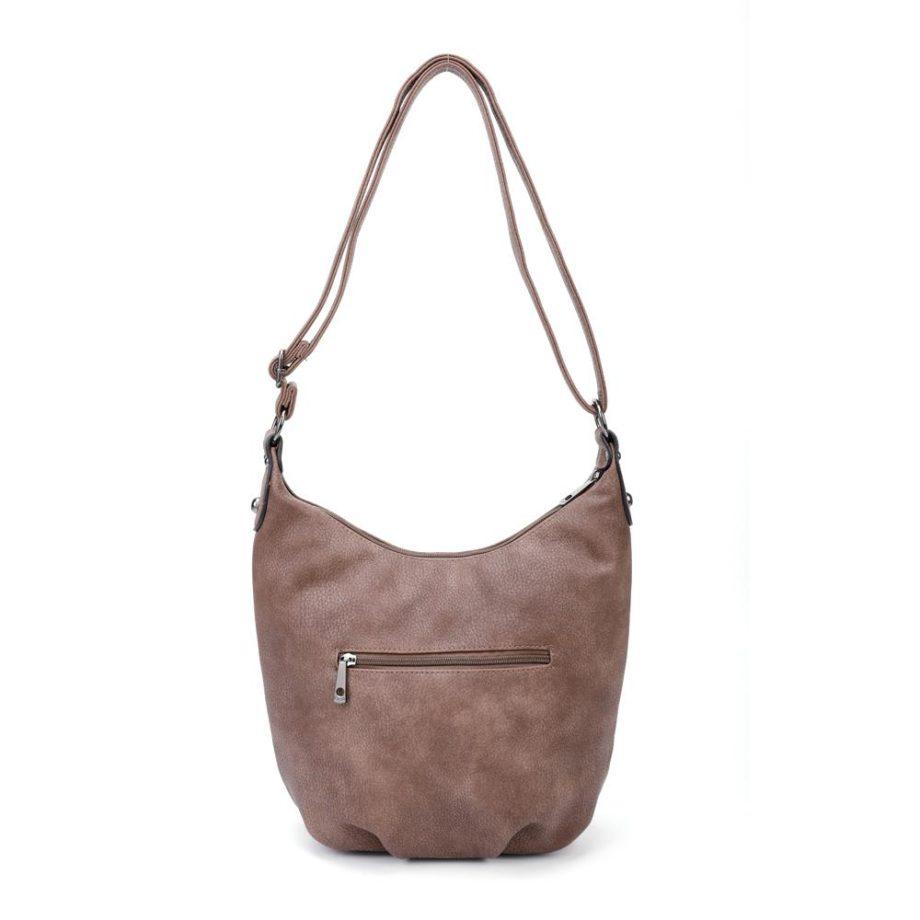 Braune Umhängetasche Damen, Handtasche, Crossoverbag, Jasmin, Tasche von hinten, B-Material