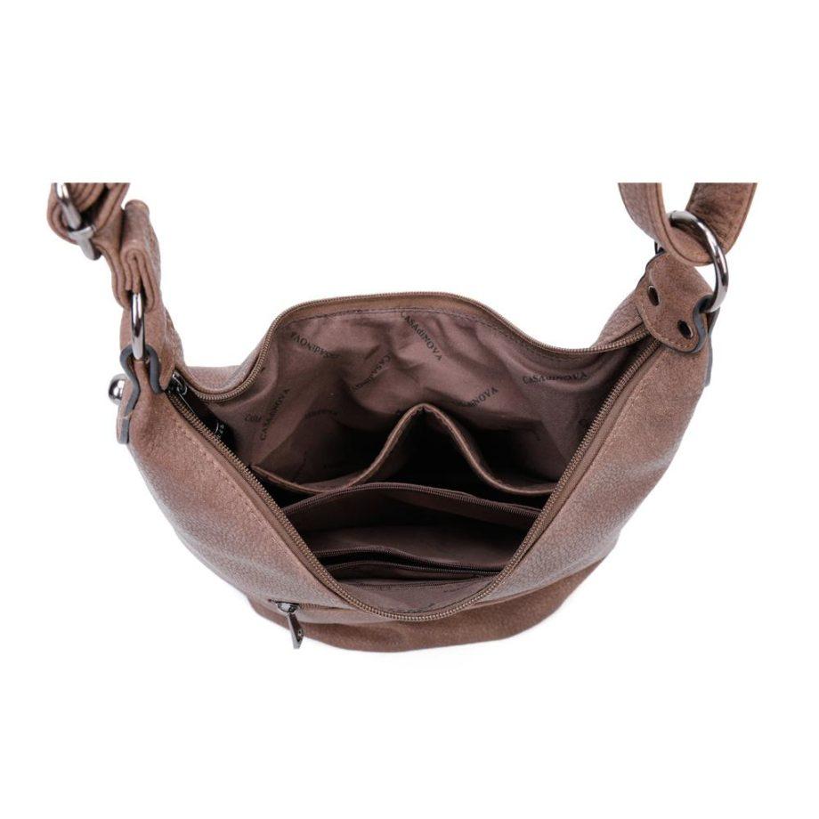 Braune Umhängetasche Damen, Handtasche, Crossoverbag, Jasmin, Tasche von oben, B-Material